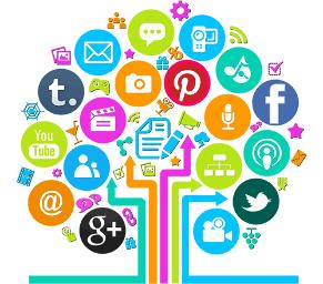 Imagem de fundo branco. Ao centro subindo da base várias setas voltadas para cima. Em volta das setas várias logos de redes sociais diversas ao meio de símbolos de wi-fi e balões de conversa.