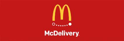 logo do McDonald's para campanha de delivery, abaixo estão os dizeres: McDelivery